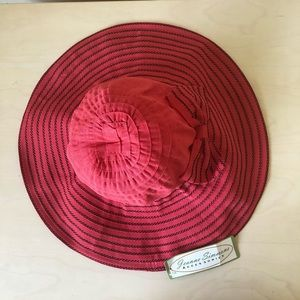 Crushable Ribbon Hat Wide Brim Red